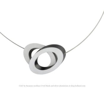 CLIC by Suzanne ketting of collier C70Z zwart met zilver aluminium bij shop.holland.com