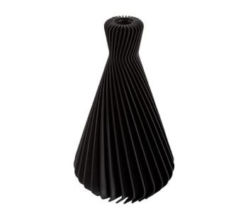 Conische ribbelvaas in de kleur zwart - 3d printing Dutch Design