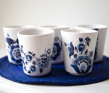Set mokjes Delfts blauw van Royal Goedewaagen met verschillende patronen