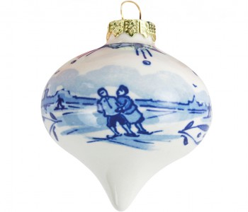 Bijzondere kerstversiering: Delfts Blauwe kerstbal in de vorm van een druppel voor in de kerstboom