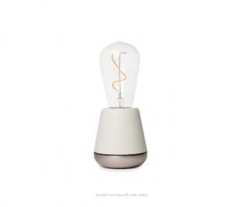 Humble One draadloze tafellamp in off-white en nikkel