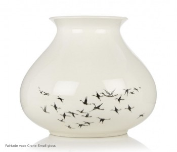 Fairtrade design vaas small PHE met kraanwvogel in wit