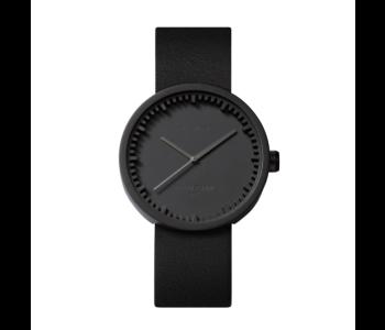 Tube D38 zwart stalen horloge met zwart leren band van LEFF Amsterdam by Piet Hein Eek