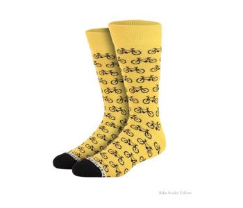 Fiets sokken geel met zwarte fietsen van Heroes on Sock maat 36 - 40