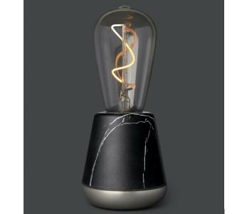 De Humble One draadloze tafellamp in zwart marmer en nikkel