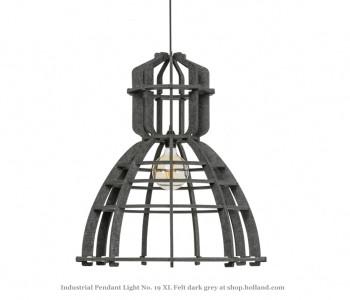 No. 19XL Industriële hanglamp in donkergrijs PET-vilt van Olaf Weller