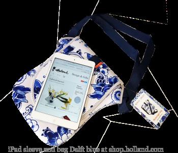 Delfts blauw iPad hoes en tas in een bij shop.holland.com
