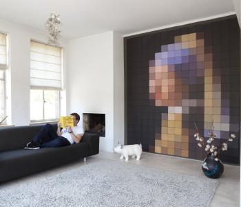 Vermeer pixel schilderij in je woonkamer