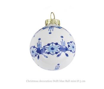 Royal Delft kerstbal mini 5 cm met bloem motief in Delfts blauw: cadeau tip voor Kerstmis