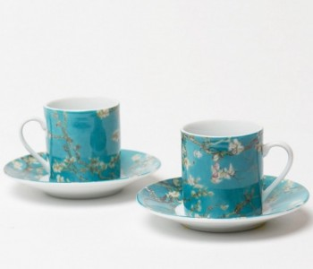 Dutch Design set van 2  porseleinen espressokopjes Vincent van Gogh amandelbloesem