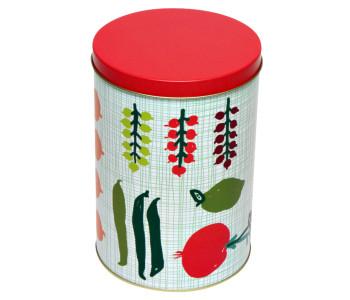 Voorraadbus Porre van Kitsch Kitchen met groenen en fruit en rode dekseltch Kitchen voorraadbus groen
