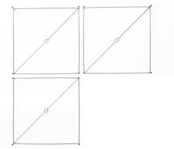 Set van 3 vierkante frames metaalkleurig passend bij de Lotek Classic