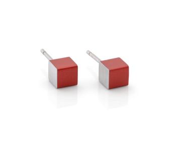 Dutch Design oorbellen in rood aluminium van Clic Creations sieraden