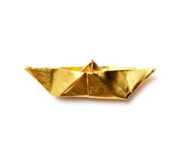 Broche origami boot goudkleurig - bijzonder cadeau voor haar