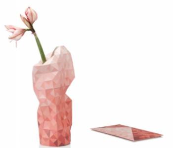 Dutch Design rode papieren vaas hoes en envelop van Pepe Heykoop