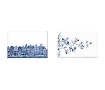 Delfts blauw placemats - bloemen en grachtenpanden