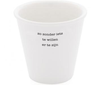 Plint poëzie beker met gedicht van Frank Eerhart 'zonder iets te willen' - prachtig geschenk