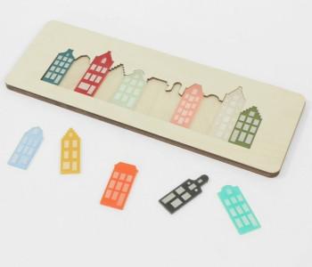 Cre8 Grachtenpuzzel van plexiglas en berkenhout - leuk cadeau voor kinderen