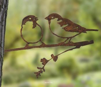 Metalbird musjes metalen vogels voor in de tuin - leuk cadeau voor vogelliefhebbers