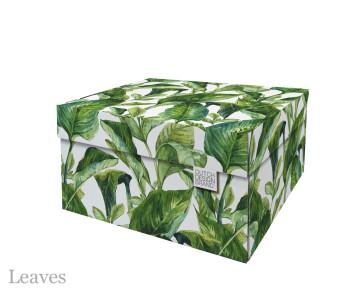 Dutch Design Opbergbox Green Leaves 40 x 31 x 21 cm