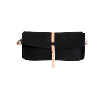 Rowold tas Uppsala in zwart vilt, gebruik 'em als handtas of schoudertas
