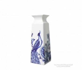 Delfts Blauw Vaas - Pauw en Bloemen S 16 cm koop je bij shop.holland.com