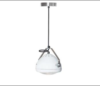 No.5 Vintage Hanglamp Koplamp wit met zwart strijkijzer snoer koop je bij shop.holland.com