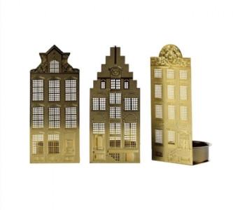 Kaarsenstandaard voor Waxinelichtjes in de vorm van grachtenpandjes koop je bij shop.holland.com