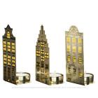Waxinelichthouders Grachtenpanden van Pols Potten goud licht - Set van 3