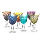 Pols Potten Wijnglas van gekleurd glas - set van 6 verschillende glazen