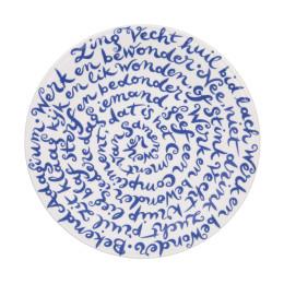 Bord Diskus met tekst over Samenwerken in modern #dutchdesign Delfts blauw