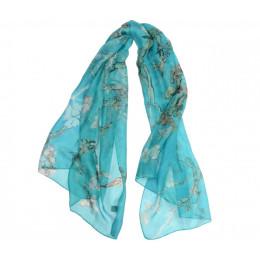 Zijden sjaal met print van het schilderij Amandelbloesem van Vincent Van Gogh