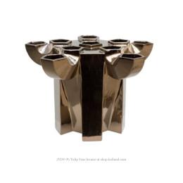 JvdV P1 aardewerk vaas in brons glazuur van Bas van Beek gemaakt in atelier Cor Unum