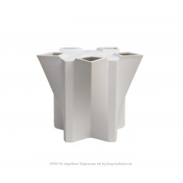 JvdV P2 aardewerk vaas wit van Bas van Beek gemaakt in atelier Cor Unum
