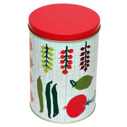 Voorraadbus Porre van Kitsch Kitchen met groenen en fruit en rode dekseltch Kitchen voorraadbus groen - Dutch design cadeaus bestel je bij shop.holland.com
