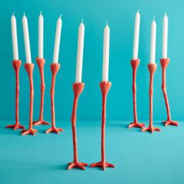 Set van 2 Long Legs kandelaars in de kleur oranje van Jasmin Djerzic