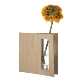 Split vaas door van Duo Design van berken hout en glas