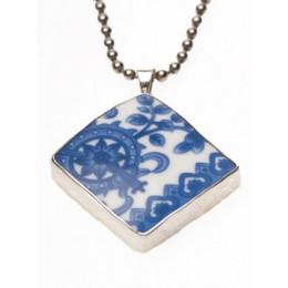 Zilveren Lucky hanger met Delfts Blauw porselein