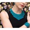 The Classic ketting, oorbellen mini's en armband 'wide' in aqua scuba stof vind je bij shop.holland.com