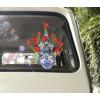 Verwijderbare herbruikbare raamsticker Flat Flowers delfts Rood bij shop.holland.com