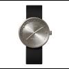 Stoer cadeau voor mannen; een zwart stalen horloge met zwart leren band