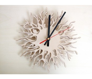 Wooden designer wall clock Coral Branch by Asymmetree Anja Verdonk