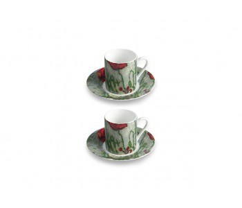 Vincent and Theo Van Gogh coffee cup porcelain butterflies and poppies