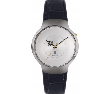 Alessi stainless steel black leather men's watches by Marcel Wanders