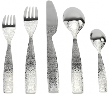 5-piece designer cutlery set with fork and knife, and spoon Marcel Wanders for Alessi
