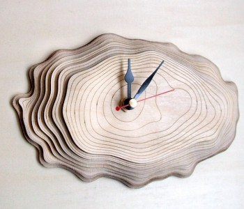 Designer clocks Asymmetree model Bark One birch
