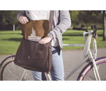 Gray Brown Big Business laptop bag by Keecie
