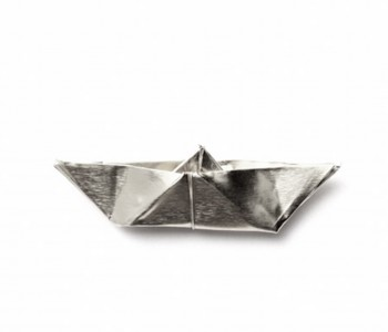 Origami boot broche zilver van Turina sieraden bij shop.holland.com