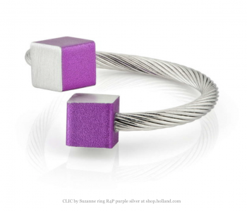 CLIC by Suzanne verstelbare One size fits all ring R4P paars en aluminium bij shop.holland.com