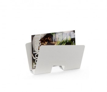 Design magazine holder Contour by Gispen in frosted black and frosted white steel